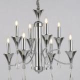 lampadari classici a sospensione con struttura in metallo cromato e 8 luci