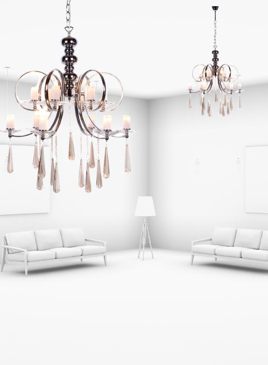 lampadari eleganti salotto con cristalli