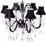 lampadario 6 bracci classico nero in cristallo e vetro