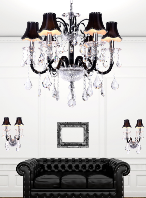 lampadario 5 bracci cristallo nero e vetro con applique coordinate DENICA