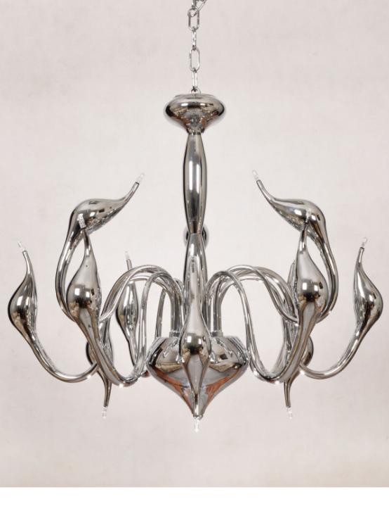 lampadario argento moderno a soffitto