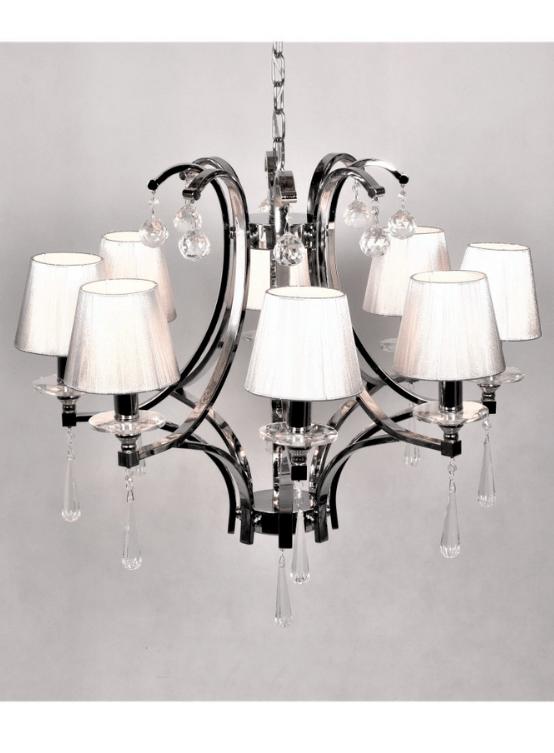 lampadario argento classico con cristalli 8 luci