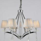 lampadario argento classico con cristalli pendenti