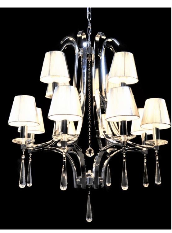 lampadario argento classico con cristalli