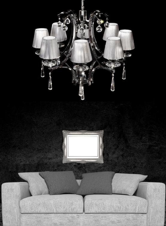 lampadario argento classico con paralumi grigi