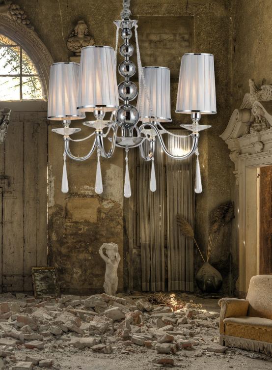 lampadario argento in stile classico 4 luci con paralume in tessuto