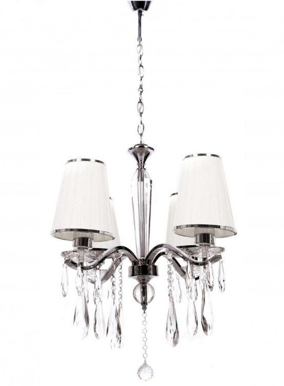 lampadario bianco a sospensione stile classico moderno a 4 luci