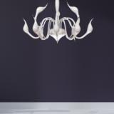 lampadario metallo bianco a sospensione a forma di cigno