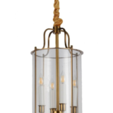 lampadario a cilindro in vetro e ottone