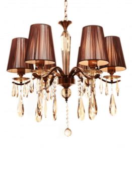 lampadario classico 6 luci ambra con cristalli