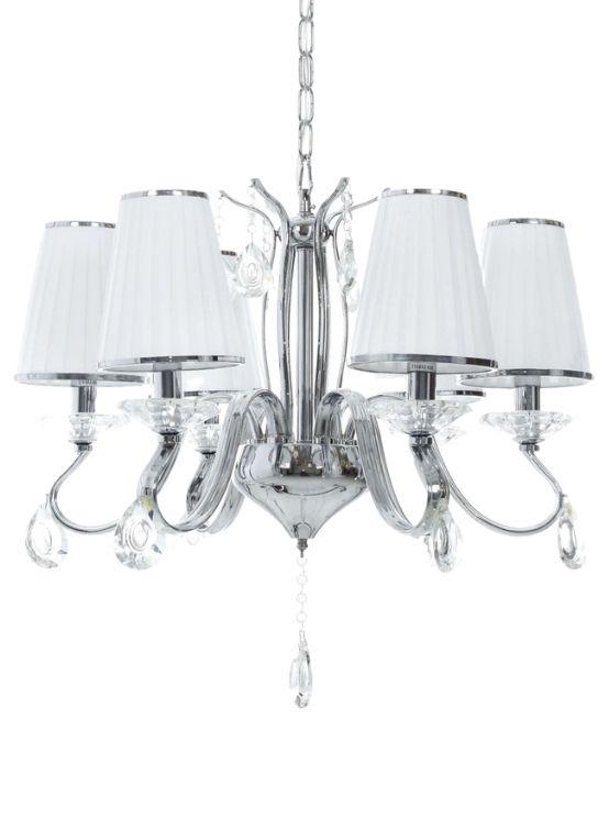 lampadario classico bianco paralumi tessuto