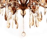 particolare lampadario classico con cristalli 6 luci gocce di cristallo pendenti paralumi in tessuto marrone