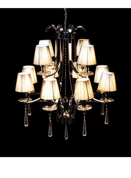 lampadario classico cristalli e paralumi argento