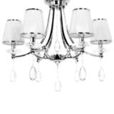 lampadario classico argento cristalli pendenti 6 luci