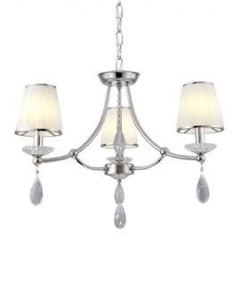 lampadario classico in cristallo con 3 luci e paralumi bianchi