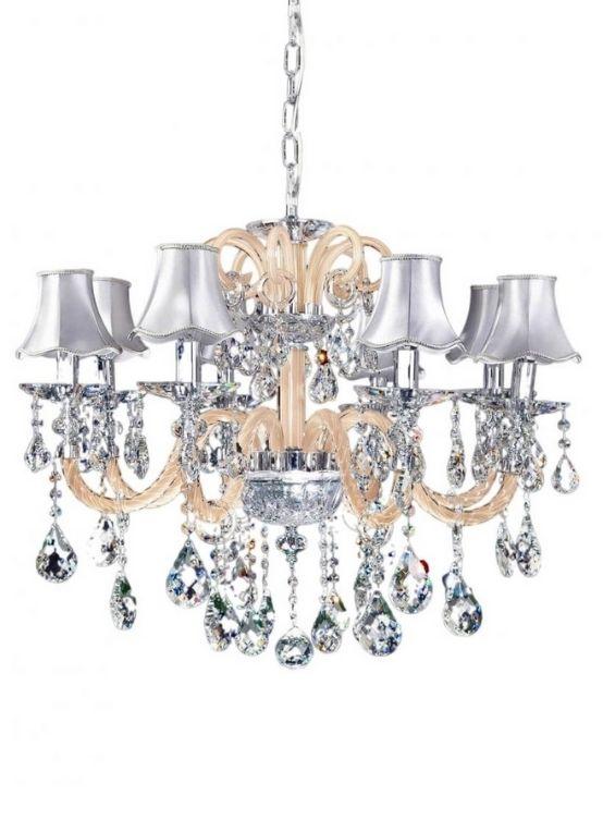 lampadari classici cristallo paralume argento