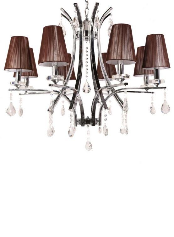 lampadario classico cromato a sospensione con cristalli