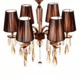 lampadario classico marrone cristallo 6 luci