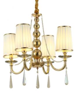 lampadario classico oro 4 luci da soffitto con cristalli pendenti
