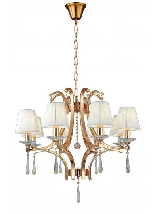 lampadario classico oro con cristalli e paralumi in tessuto con cavo a catena dorata