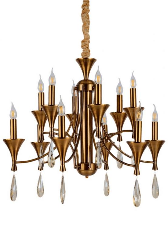 lampadario classico ottone con cristalli pendenti