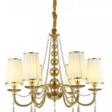 lampadario classico a sospensione dorato con cristalli 6 luci