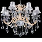 lampadario con paralumi argento e cristallo