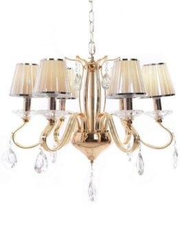 lampadario cristalli oro con gocce