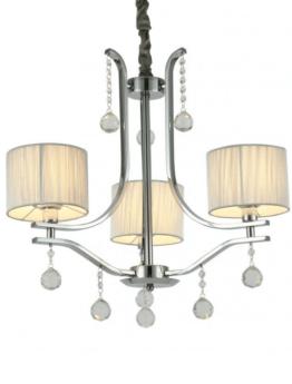 lampadario cristallo a 3 luci con paralumi rotondi