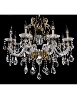 lampadario cristallo e ottone 8 luci