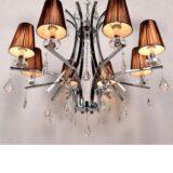 lampadario in cristallo con paralume marrone molto elegante