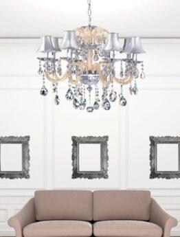 lampadario cristallo vetro crema paralume argento
