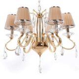 lampadario classico oro paralumi plissettati