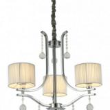 lampadario cromato 3 luci con cristalli e paralumi rotondi