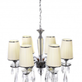 lampadario cromato 6 luci con cristalli pendenti e catena regolabile in altezza