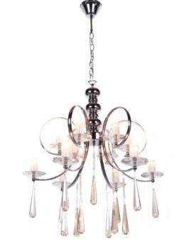 lampadario cromato con cristalli a sospensione