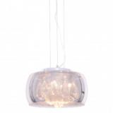 lampadario cromato cristalli e vetro da appendere al soffitto con attacco cromato