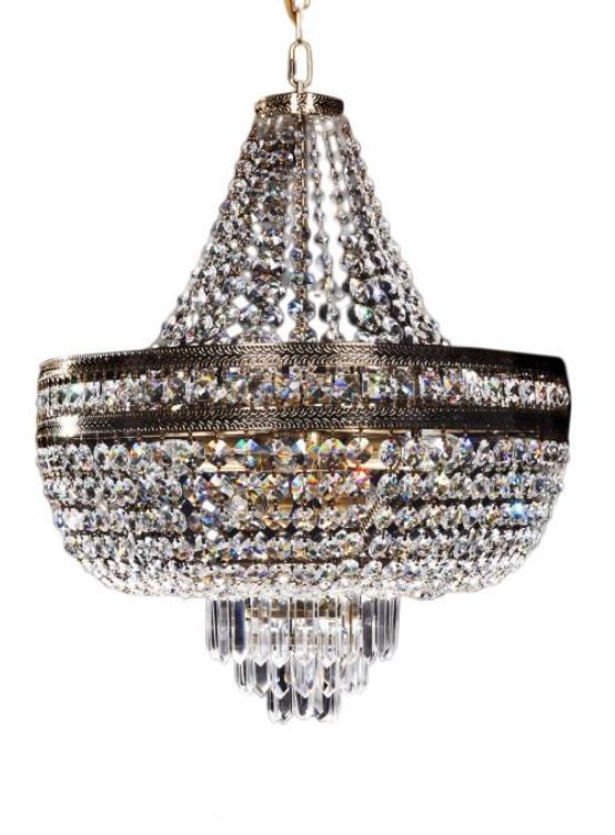 lampadario dorato con cristalli stile impero