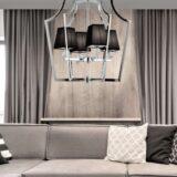 lampadario elegante cromato da soggiorno