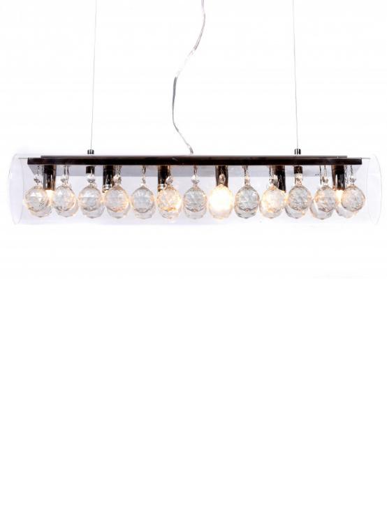 lampadario a forma di tubo in vetro trasparente e cristalli