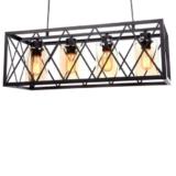 lampadario gabbia industriale rettangolare con 4 luci paralumi ambra