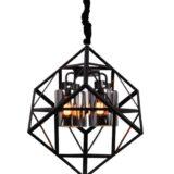 lampadario gabbia metallo nero