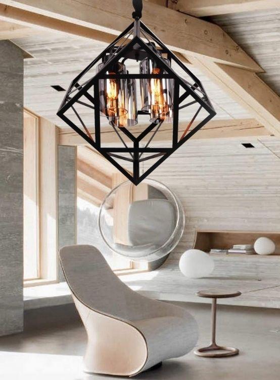lampadario gabbia nero metallo stile industriale