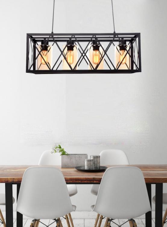 lampadario a gabbia rettangolare in metallo nero con 4 luci