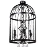 lampadario gabbia uccelli nero in metallo