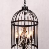 lampadario gabbietta nero con cristalli
