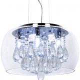 lampadario con gocce di cristallo e paralume in vetro