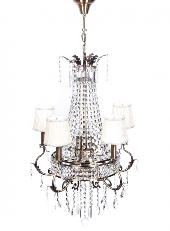 lampadario imperiale cristalli 4 paralumi tessuto