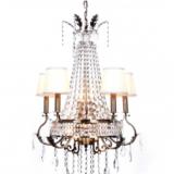 lampadario imperiale a sospensione con struttura dorata e cristalli e 4 paralumi