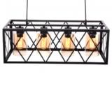 lampadario industriale nero 4 luci